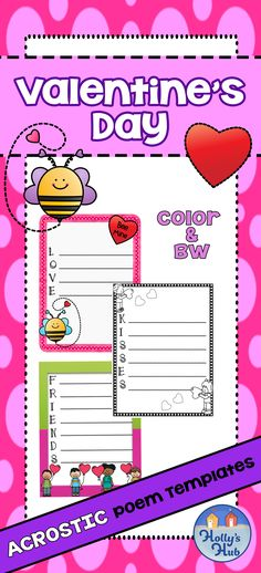 Love, friendship and Kindness is in the air! Share the love and make your bulletin boards look eye-catching with these acrostic poem templates. Students can choose their favorite words and write their own poem. A fun time filler just in time for Valentine's day!   #valentinesday #valentinesdaypoems #elementaryacrosticpoems #love #kindness #hollyshub #tpt
