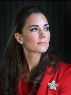 The Duchess of Cambridge wearing the Queen Mother's Canadian Maple Leaf Brooch