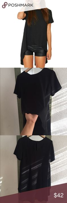 Philosophy black high and low black blouse Size Small never worn, NWOT short sleeve, hi and low blouse, pleat details at back, button at neck Philosophy Tops Blouses