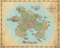 Peter Pan Nursery Neverland Map Map of by PrintsAndPrintables Neverland Map, Neverland Nursery, Peter Pan And Tinkerbell, Peter Pan Disney, Nursery Rhymes, Nursery Art, Peter Pan Play, Le Mirage, Peter Pan Nursery