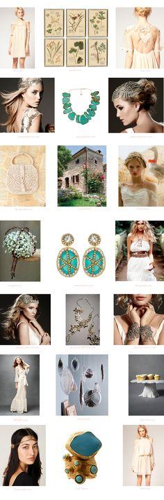 bohemian wedding inspiration board, bohemian shoes, bohemian gowns