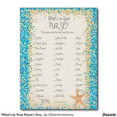 What's in Your Purse | Ocean Confetti Postcard