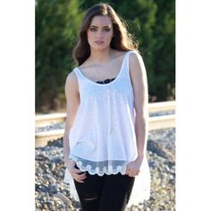 Sycamore Lace Tank in White