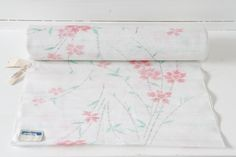 White with Pink Flowers Japanese Kimono Fabric Bolt by CJSTonbo on Etsy