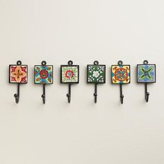 Delicately hand painted in a variation of vibrant floral designs, our set of six Painted Square Tile Hooks coordinate to create a colorful, eclectic look. Tile Art, Mosaic Art, Tile Crafts, Blue Pottery, Ceramic Knobs, Tile Design, Bohemian Decor, Fall Decor, Diy Home Decor