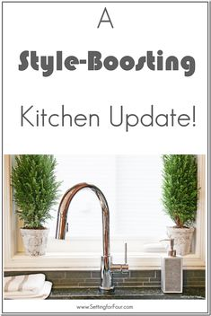 Looking for a new kitchen faucet? See my Style-Boosting Kitchen Update and all the amazing features and reasons why I love my new touch free faucet! #sp