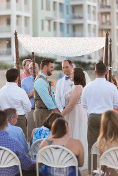 Pink Blue Virginia Beach Wedding - outdoor wedding ceremony