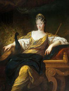 LA DUCHESSE D'ORLÉANS FRANÇOISE-MARIE DE BOURBON, LÉGITIMÉE DE FRANCE, PRINCESSE DU SANG, EN JUNON (1677-1749), early 18th century, French school