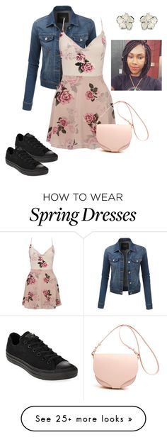 """Spring Fling"" by rushha on Polyvore featuring LE3NO, Lipsy, Converse and Shaun Leane"
