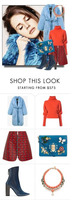 """""""Blue fur coat"""" by zakharova-83 ❤ liked on Polyvore featuring Saks Potts, Creatures of the Wind, Isabel Marant, Dolce&Gabbana, Fabrizio Viti and Ellen Conde"""