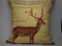 Vintage Deer Canvas Pillow Christmas by PolkadotApplePillows