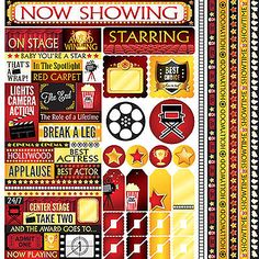 Reminisce NOW SHOWING 12x12 Sticker Sheet scrapbooking MOVIE THEATER STAGE