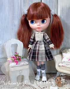 Blythe One Piece Long Sleeve Dress. Plaid Material.  Made to fit Kenner/Takara Blythe and Similar size dolls