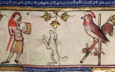 cock on stilts and dancing dogRoman d'Alexandre, Tournai 1338-1344 Bodleian Library, MS. Bodl. 264, fol. 91r