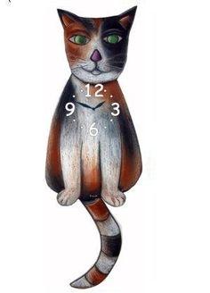 Calico Wagging Tail Cat Clock buy on ColmanStreetClocks.com