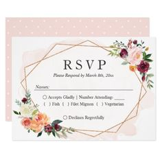 Modern Geometric Frame Floral Wedding RSVP Reply Card - floral style flower flowers stylish diy personalize
