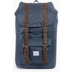 Herschel Supply Little America Backpack - Navy ($240) ❤ liked on Polyvore featuring bags, backpacks, navy blue, canvas bag, backpacks bags, canvas rucksack, herschel and canvas knapsack