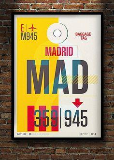 Madrid. Modern Flight Tag Prints designed by Neil Stevens, London