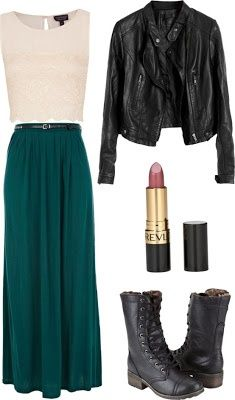 Leather and Lace. maxi skirt and biker boots