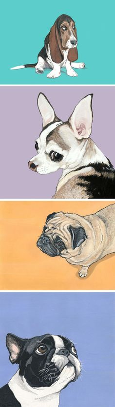 Whether it's a gift for the pet lover in your life or a piece for your living room, celebrate (Wo)Mans best friend by having a custom pet portrait made. Each piece is hand painted in gouache using your photos as a reference and finished with a bright and colorful background.  Visit www.artbymanda.com for more details.