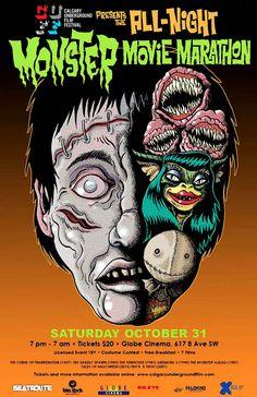 poster art for a Calgary Underground Film Festival halloween event. Underground Film, Monster Squad, Movie Marathon, Costume Contest, Calgary, Trick Or Treat, Film Festival, Cinema, Halloween