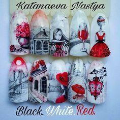"""1,461 Likes, 37 Comments - Настя Катанаева (@katanaeva_nails) on Instagram: """"Курс Black.White.Red.🌹Для рисующих мастеров, усложнённый. Умение рисовать тонкие линии в геле…"""""""