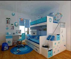 kids bedroom bedroom interior teens bedroom white bunk beds and white study table with blue chair on blue rug in doraemon themed bedroom fascinating decorating ideas for boys bedrooms Bunk Beds With Stairs, Cool Bunk Beds, Kids Bunk Beds, Tween Beds, Play Beds, Bed Stairs, Bunk Bed Designs, Small Bedroom Designs, Design Bedroom