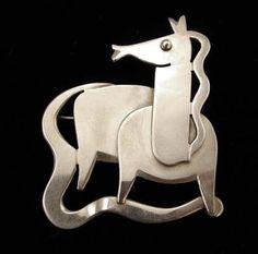 Paul Lobel Modernist Sterling Horse Brooch