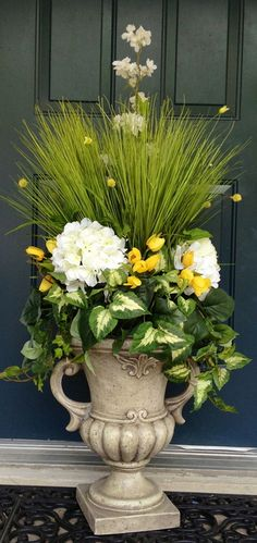 About Urn Inserts: These beautiful arrangements are made to be removed from the urns.  It makes decorating your front porch quick and easy every season!  Please note that I only recommend urn...