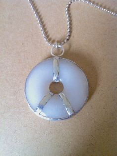 White Marble & Metal Pendant on Bullet by G2B5PrimitivePeople