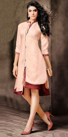 Freezing Maroon Silk Designer Kurti.This Indo Western Kurti has attractive look with print work and lace work on it which gives you ethnic look.