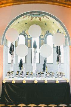 Stylish wedding reception escort card idea; photo: onelove photography