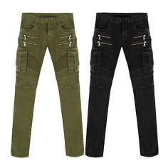 Biker Jeans Punk Style Cargo Pocket Jeans Skinny Men Famous Brand Mens Designer Clothes Zipper Denim Pants Army Green Black P2