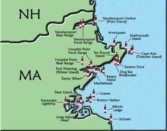 Upper Massachusetts Lighthouse Map