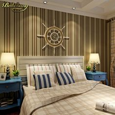51.24$  Watch now - http://alistv.shopchina.info/go.php?t=32336319660 - beibehang wall paper Shop for imported non-woven wallpaper Mediterranean vertical stripes wallpaper bedroom papel parede  #buyininternet