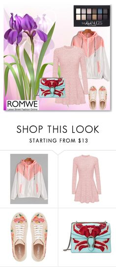 """""""Romwe"""" by emrakovacevic ❤ liked on Polyvore featuring Maybelline and Gucci"""