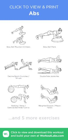 Abs –click to view and print this illustrated exercise plan created with #WorkoutLabsFit