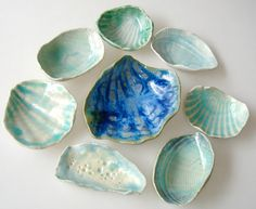 Ceramic seashell  instant collection, beach decor, wedding favor, aqua and turquoise blue cobalt, salt dish,  jewelry dish, bridesmaid gift
