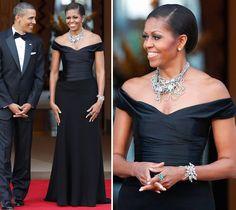 Vestido de festa como inspiração para mãe de noiva | Michelle Obama veste Ralph Lauren