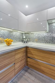 Modern, glass surfaces for kitchen and bath cabinets, retail and commercial furnishings.A galley kitchen that's been opened up creates the illusion of more modern interior design ideas that are very popular 34 Kitchen Room Design, Kitchen Cabinet Design, Modern Kitchen Design, Home Decor Kitchen, Interior Design Kitchen, Modern Interior Design, Eclectic Kitchen, Küchen Design, Design Case