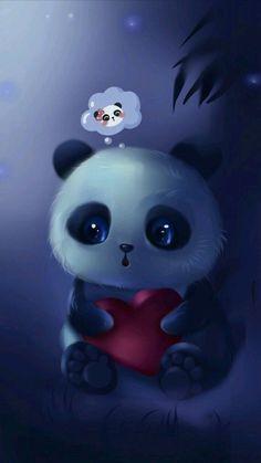 Pin by Teresita Rmrz on Fondos de pantalla in 2019 Cute Panda Wallpaper, Cute Disney Wallpaper, Cute Wallpaper Backgrounds, Animal Wallpaper, Cute Panda Drawing, Cute Animal Drawings, Cute Drawings, Baby Animals Super Cute, Cute Little Animals