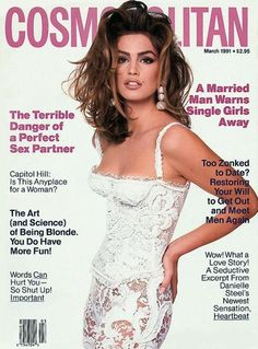 Cosmopolitan US, March 1991  Photographer : Francesco Scavullo  Model : Cindy Crawford