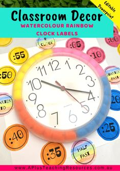 This Watercolour Rainbow Classroom Decor Kit has everything you need to get your classroom looking bright, welcoming and inviting and educational. Classroom Clock, Classroom Board, Classroom Freebies, Classroom Themes, Classroom Activities, Future Classroom, Bulletin Boards, Class Board Decoration, Diy Decoration