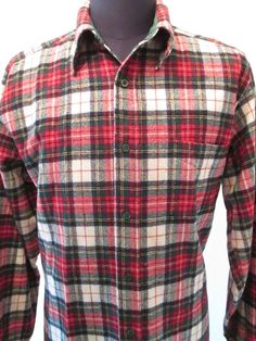 Pendleton Shirt Men's Size Large Plaid Christmas Flannel Wool Lumberjack Hunting #Pendleton #Western