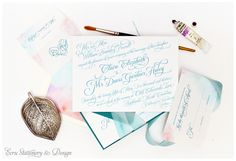 Romantic Ombré Watercolor Invitations by ECRU Stationery & Design, featured in Occasions Magazine. Old Edwards Inn garden-inspired wedding and reception design by Chancey Charm