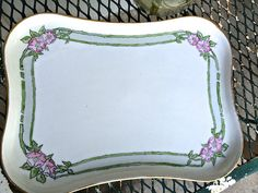 Art Deco china dresser tray, perfect place to place your treassures,  white china hand painted  gold trim,  pink and green flowers- lovely by TwoSwansSwimming on Etsy