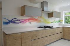 Custom Rainbow Waves Glass Splashback