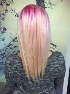 Pink to platinum, Pink roots fade to blonde. Pravanna pink platinum hair