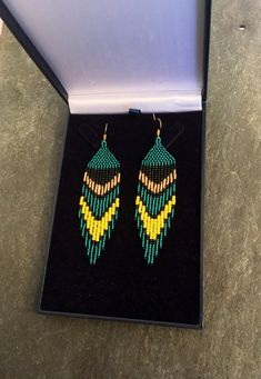 Aqua Teal Green Beaded Fringe Earrings May Birthstone Native American Gift Boho Huichol Navajo Ethnic Jewelry Yellow Gold Christmas Gift For Her perfect on those occasional day and evening ensembles! Beaded Earrings Patterns, Seed Bead Earrings, Fringe Earrings, Beading Patterns, Bead Jewellery, Ethnic Jewelry, Beaded Jewelry, Aqua, Teal Green