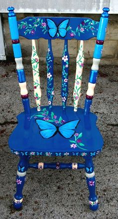 Blue Morpho Butterfly is part of Hand painted chairs - heavy, sturdy wooden chair hand painted Blue Morpho Butterflies adorn this gorgeous chair Hand Painted Chairs, Whimsical Painted Furniture, Hand Painted Furniture, Funky Furniture, Refurbished Furniture, Paint Furniture, Repurposed Furniture, Furniture Makeover, Furniture Ideas
